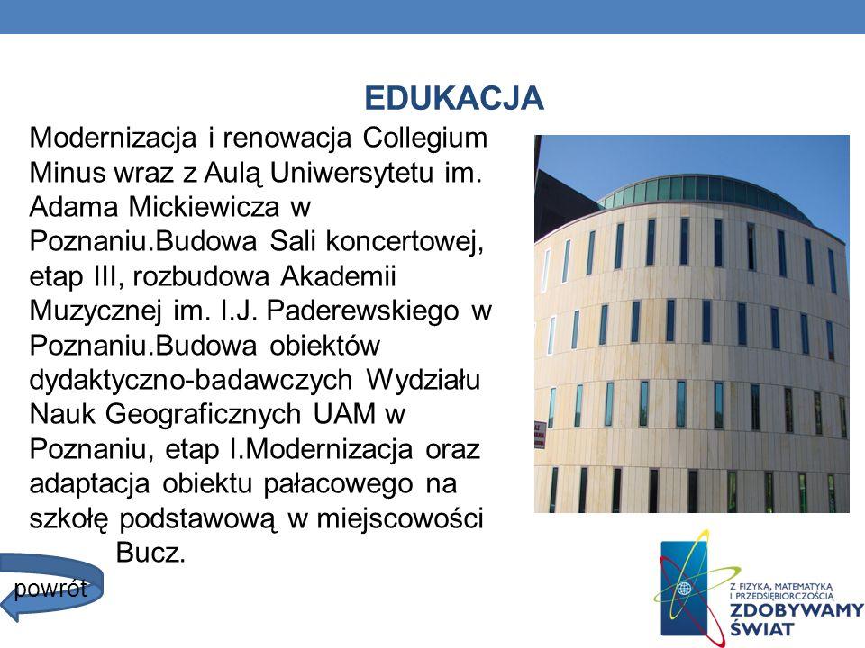 EDUKACJA Modernizacja i renowacja Collegium Minus wraz z Aulą Uniwersytetu im. Adama Mickiewicza w Poznaniu.Budowa Sali koncertowej, etap III, rozbudo