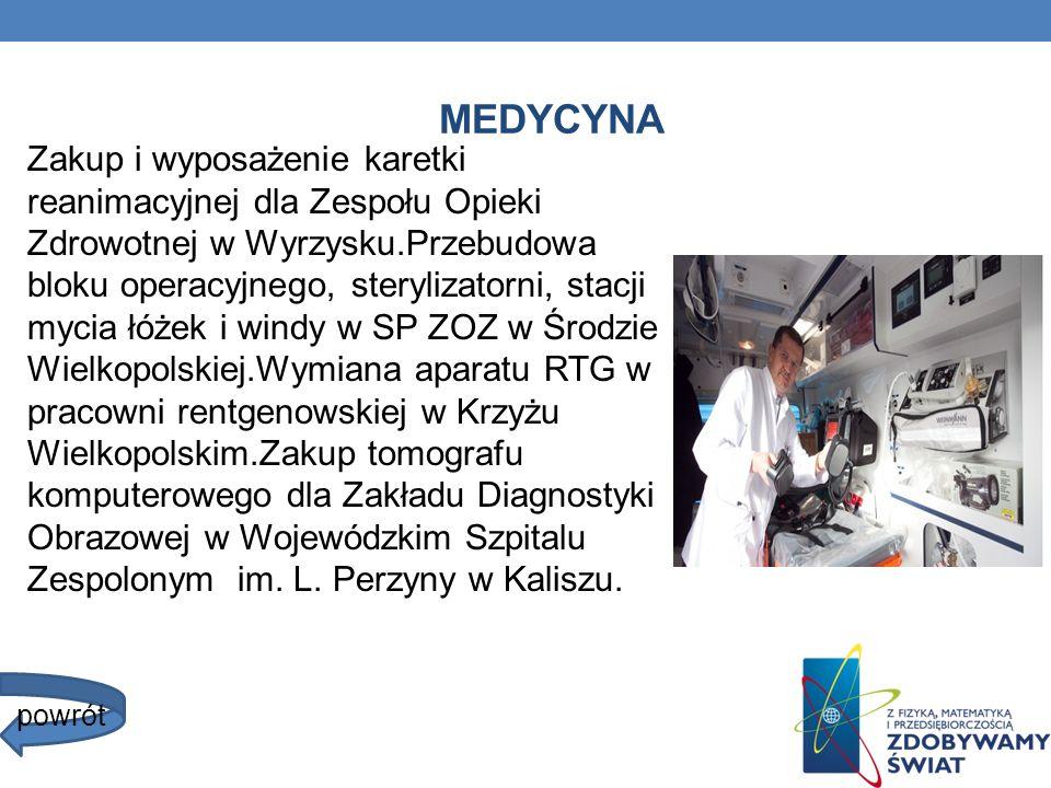MEDYCYNA Zakup i wyposażenie karetki reanimacyjnej dla Zespołu Opieki Zdrowotnej w Wyrzysku.Przebudowa bloku operacyjnego, sterylizatorni, stacji myci