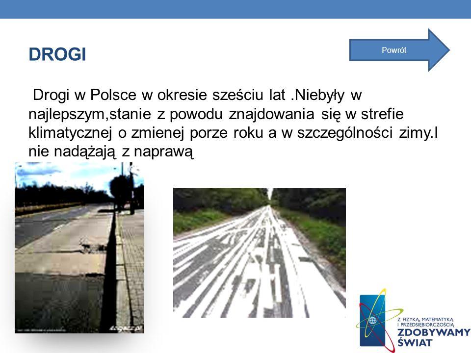 DROGI Drogi w Polsce w okresie sześciu lat.Niebyły w najlepszym,stanie z powodu znajdowania się w strefie klimatycznej o zmienej porze roku a w szczeg