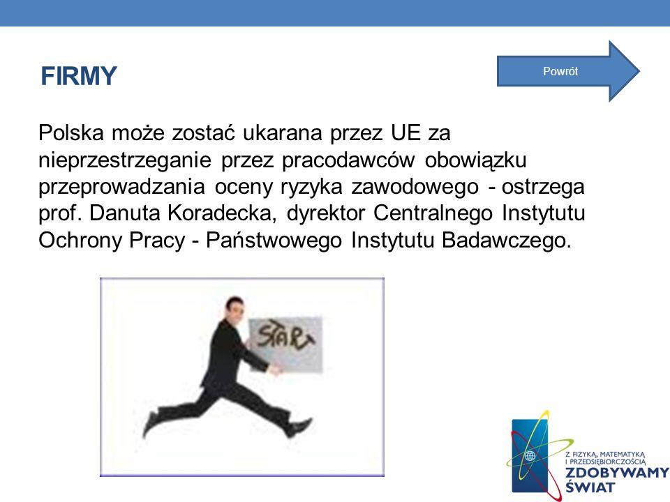 FIRMY Polska może zostać ukarana przez UE za nieprzestrzeganie przez pracodawców obowiązku przeprowadzania oceny ryzyka zawodowego - ostrzega prof. Da