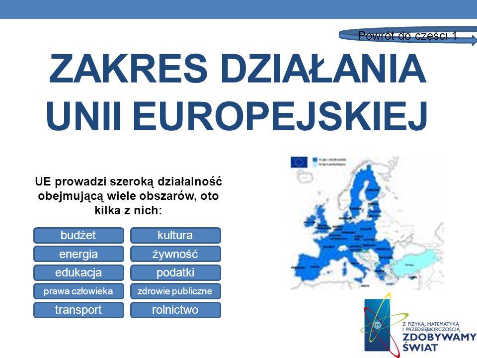 ZAKRES DZIAŁANIA UNII EUROPEJSKIEJ UE prowadzi szeroką działalność obejmującą wiele obszarów, oto kilka z nich: budżetkultura energiażywność edukacjap