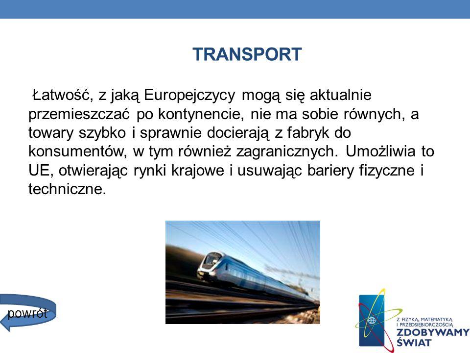 TRANSPORT Łatwość, z jaką Europejczycy mogą się aktualnie przemieszczać po kontynencie, nie ma sobie równych, a towary szybko i sprawnie docierają z f