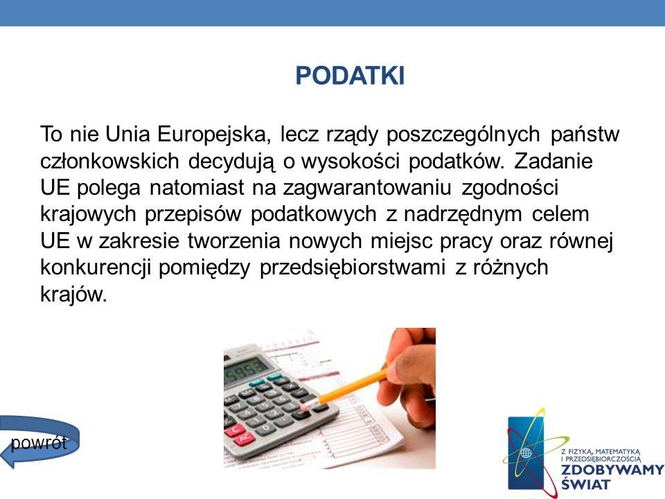 PODATKI To nie Unia Europejska, lecz rządy poszczególnych państw członkowskich decydują o wysokości podatków. Zadanie UE polega natomiast na zagwarant