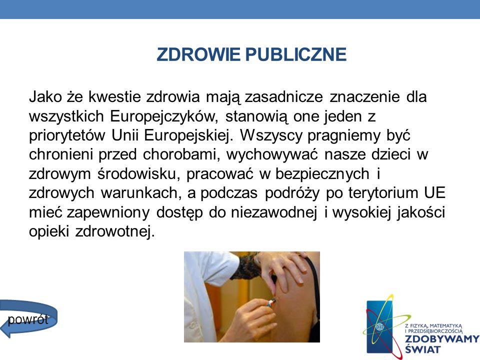 ZDROWIE PUBLICZNE Jako że kwestie zdrowia mają zasadnicze znaczenie dla wszystkich Europejczyków, stanowią one jeden z priorytetów Unii Europejskiej.
