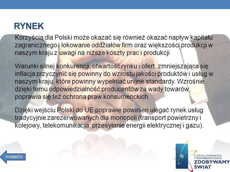 RYNEK Korzyścią dla Polski może okazać się również okazać napływ kapitału zagranicznego i lokowanie oddziałów firm oraz większości produkcji w naszym