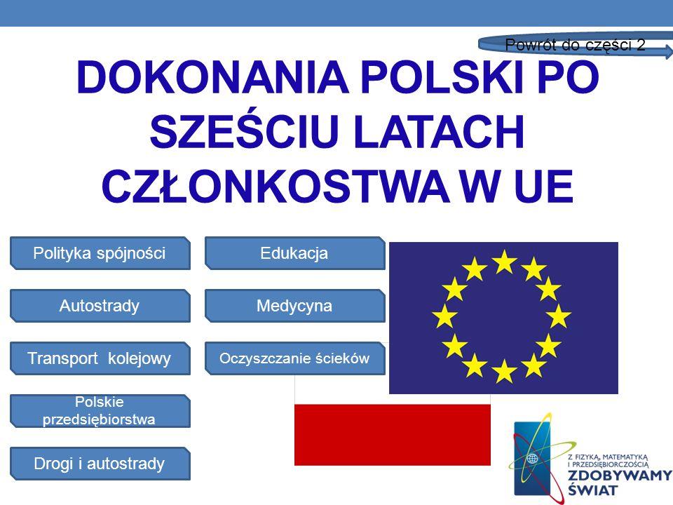 DOKONANIA POLSKI PO SZEŚCIU LATACH CZŁONKOSTWA W UE Polityka spójności Autostrady Drogi i autostrady Polskie przedsiębiorstwa Transport kolejowy Powró
