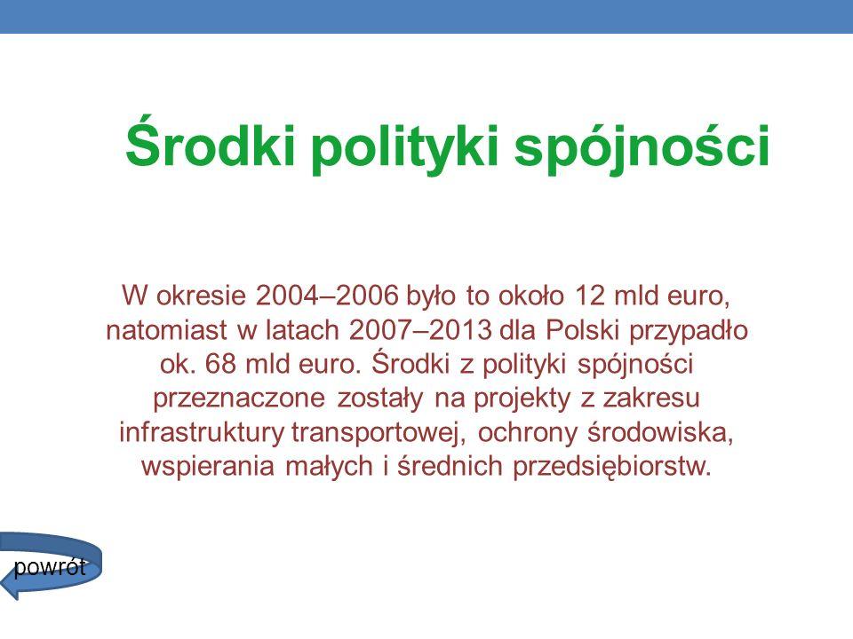 Środki polityki spójności W okresie 2004–2006 było to około 12 mld euro, natomiast w latach 2007–2013 dla Polski przypadło ok. 68 mld euro. Środki z p