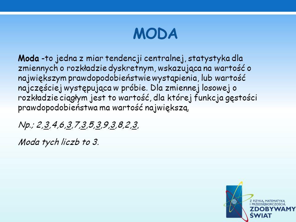 MODA Moda -to jedna z miar tendencji centralnej, statystyka dla zmiennych o rozkładzie dyskretnym, wskazująca na wartość o największym prawdopodobieńs