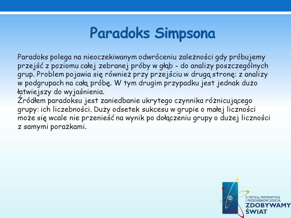 Paradoks Simpsona Paradoks polega na nieoczekiwanym odwróceniu zależności gdy próbujemy przejść z poziomu całej zebranej próby w głąb - do analizy pos
