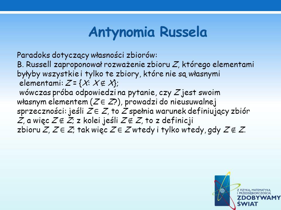 Antynomia Russela Paradoks dotyczący własności zbiorów: B. Russell zaproponował rozważenie zbioru Z, którego elementami byłyby wszystkie i tylko te zb