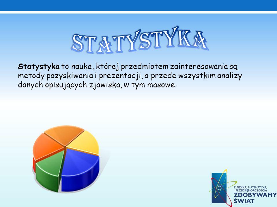 Statystyka to nauka, której przedmiotem zainteresowania są metody pozyskiwania i prezentacji, a przede wszystkim analizy danych opisujących zjawiska,