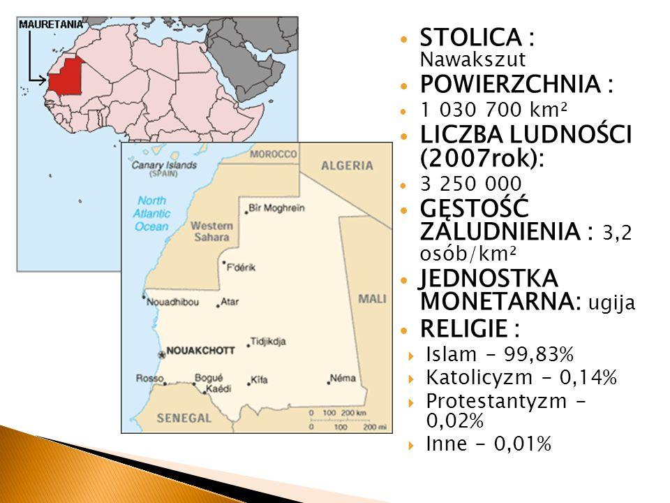 STOLICA : Nawakszut POWIERZCHNIA : 1 030 700 km² LICZBA LUDNOŚCI (2007rok): 3 250 000 GĘSTOŚĆ ZALUDNIENIA : 3,2 osób/km² JEDNOSTKA MONETARNA: ugija RE