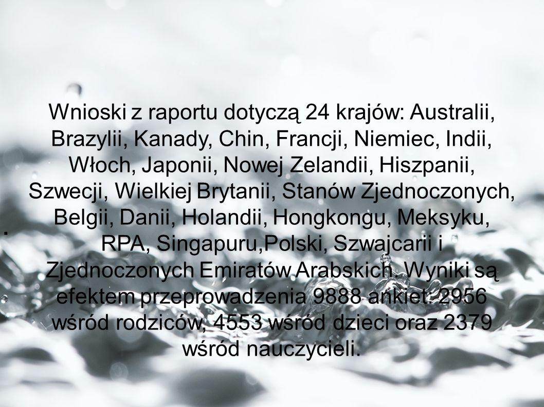 . Wnioski z raportu dotyczą 24 krajów: Australii, Brazylii, Kanady, Chin, Francji, Niemiec, Indii, Włoch, Japonii, Nowej Zelandii, Hiszpanii, Szwecji,