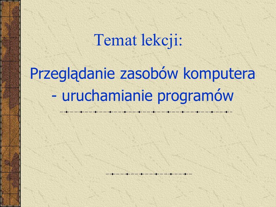 Temat lekcji: Przeglądanie zasobów komputera - uruchamianie programów