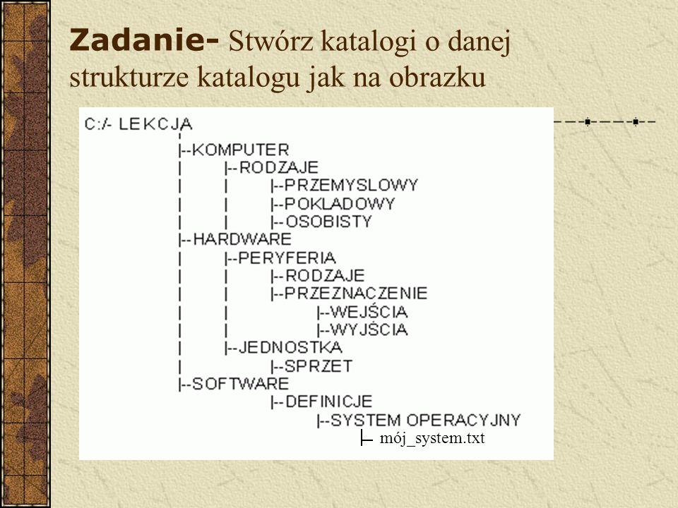 Zadanie- Stwórz katalogi o danej strukturze katalogu jak na obrazku mój_system.txt