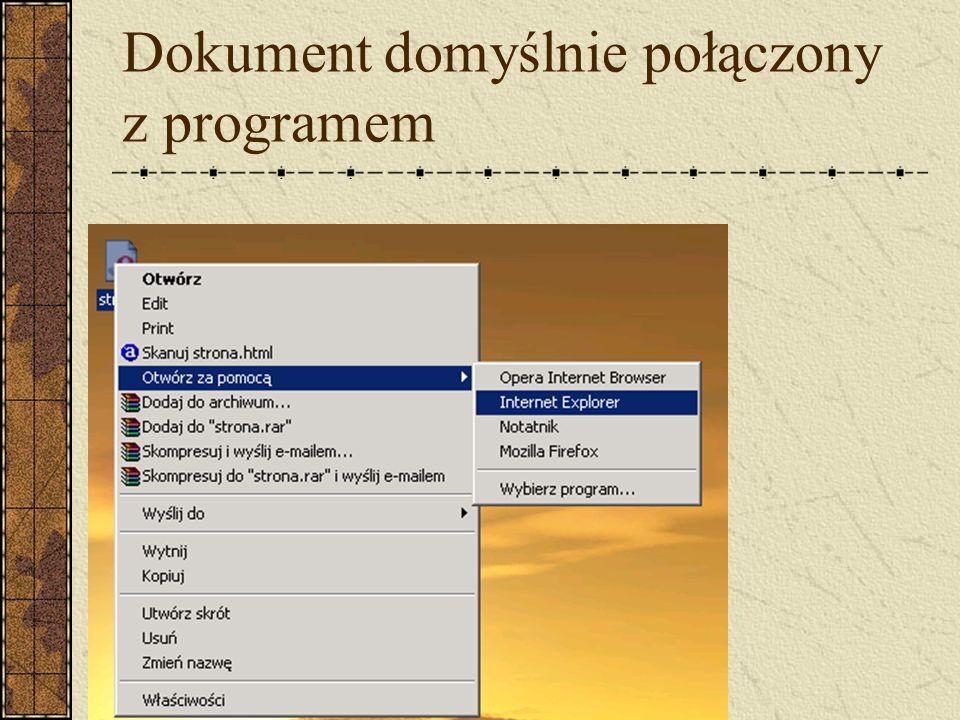 Dokument domyślnie połączony z programem
