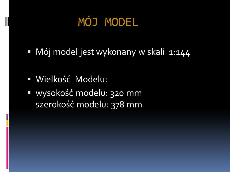 MÓJ MODEL Mój model jest wykonany w skali 1:144 Wielkość Modelu: wysokość modelu: 320 mm szerokość modelu: 378 mm