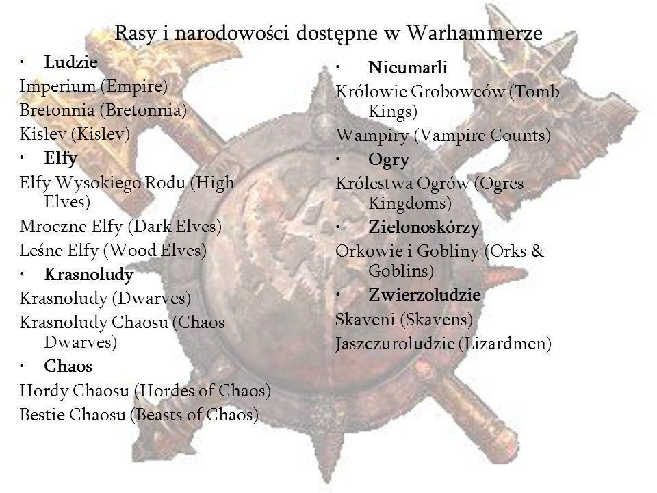 Rasy i narodowości dostępne w Warhammerze Ludzie Imperium (Empire) Bretonnia (Bretonnia) Kislev (Kislev) Elfy Elfy Wysokiego Rodu (High Elves) Mroczne