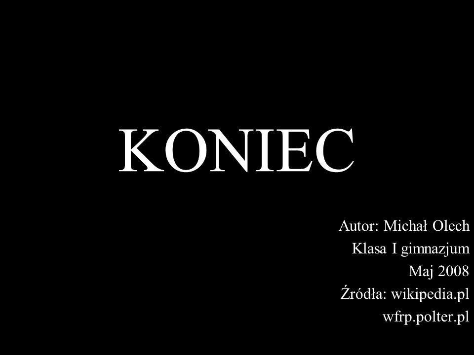 KONIEC Autor: Michał Olech Klasa I gimnazjum Maj 2008 Źródła: wikipedia.pl wfrp.polter.pl