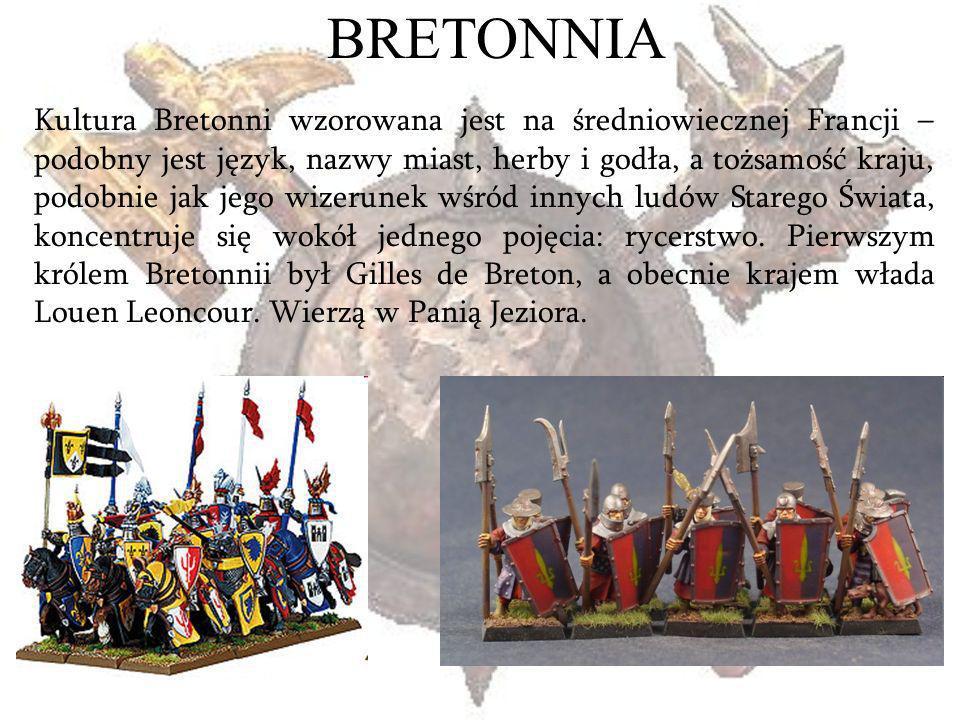 BRETONNIA Kultura Bretonni wzorowana jest na średniowiecznej Francji – podobny jest język, nazwy miast, herby i godła, a tożsamość kraju, podobnie jak