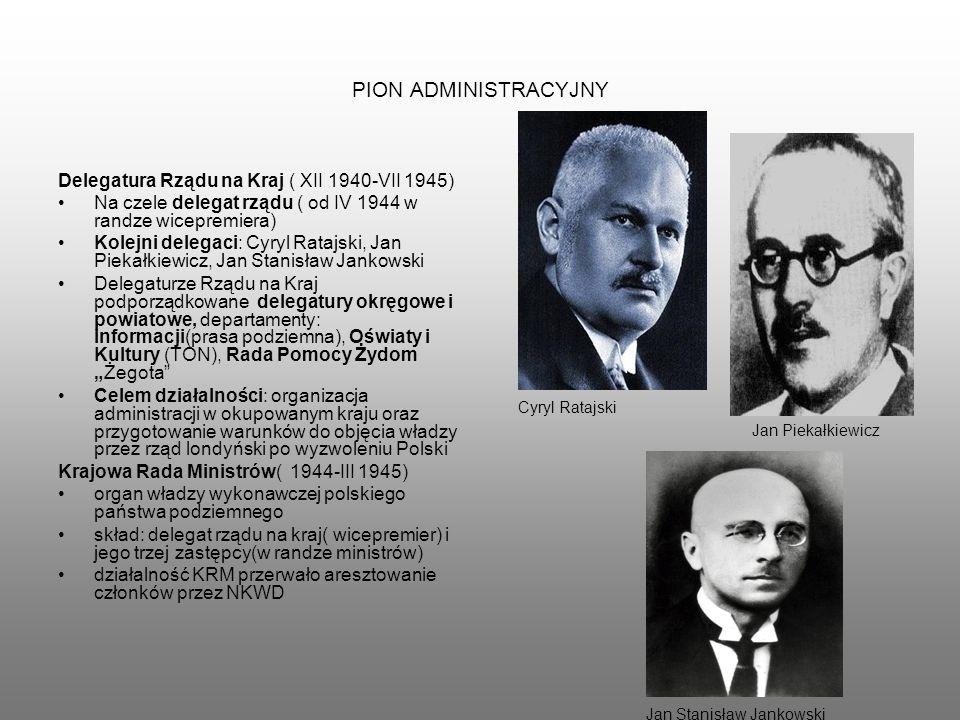 PION ADMINISTRACYJNY Delegatura Rządu na Kraj ( XII 1940-VII 1945) Na czele delegat rządu ( od IV 1944 w randze wicepremiera) Kolejni delegaci: Cyryl