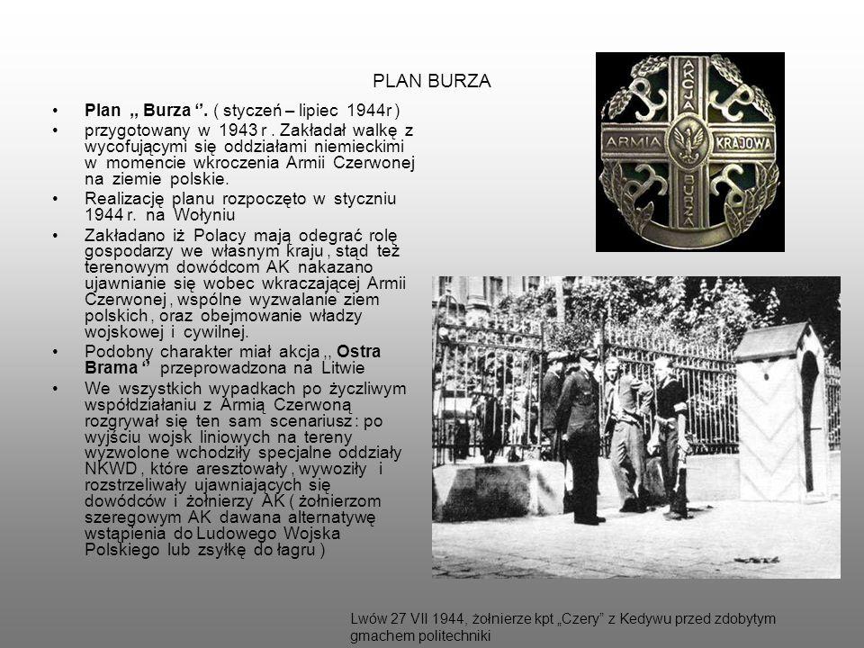 PLAN BURZA Plan,, Burza. ( styczeń – lipiec 1944r ) przygotowany w 1943 r. Zakładał walkę z wycofującymi się oddziałami niemieckimi w momencie wkrocze