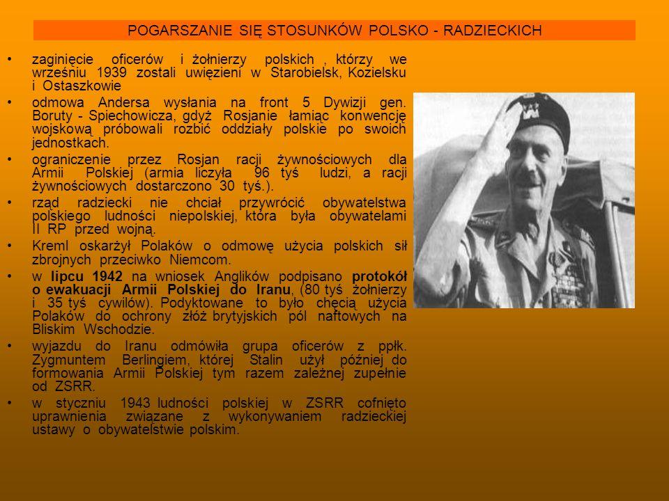 POGARSZANIE SIĘ STOSUNKÓW POLSKO - RADZIECKICH zaginięcie oficerów i żołnierzy polskich, którzy we wrześniu 1939 zostali uwięzieni w Starobielsk, Kozi