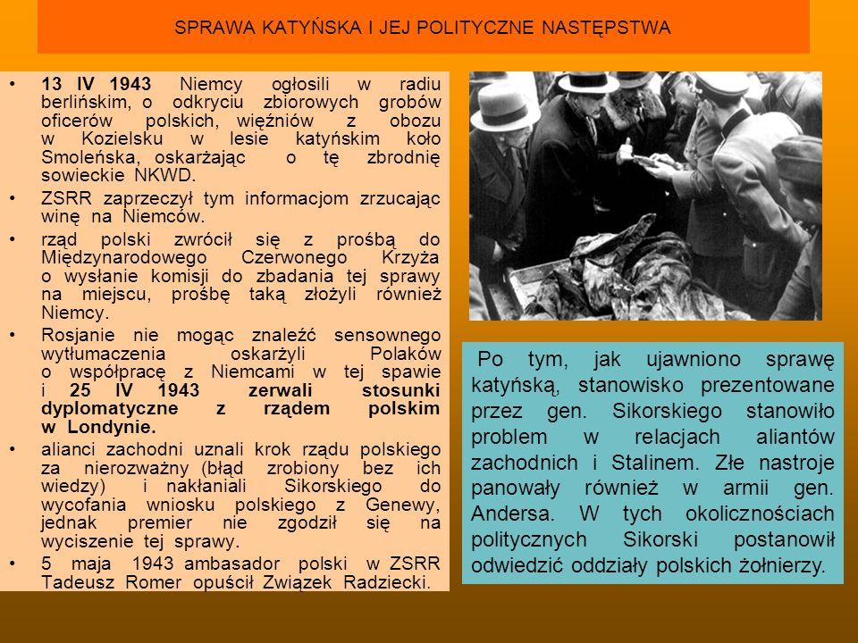 SPRAWA KATYŃSKA I JEJ POLITYCZNE NASTĘPSTWA 13 IV 1943 Niemcy ogłosili w radiu berlińskim, o odkryciu zbiorowych grobów oficerów polskich, więźniów z
