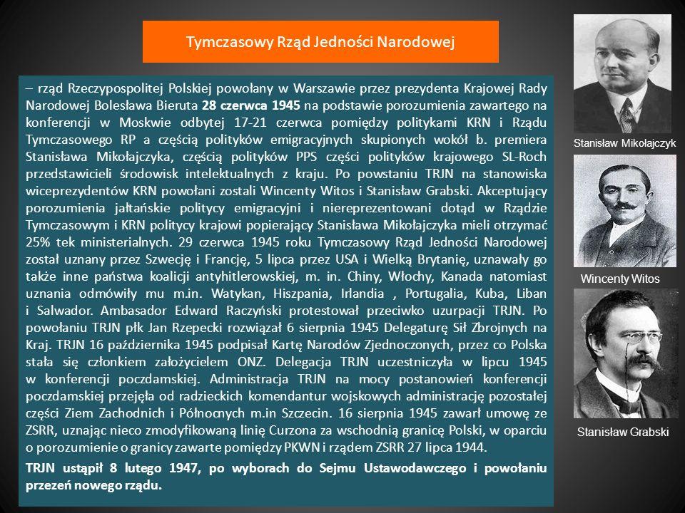 Rząd Józefa Cyrankiewicza Pierwszy rząd Józefa Cyrankiewicza – rząd Rzeczypospolitej Polskiej, a następnie PRL, pod kierownictwem premiera Józefa Cyrankiewicza, desygnowanego przez Bolesława Bieruta, po dymisji Tymczasowego Rządu Jedności Narodowej 5 lutego 1947 roku.