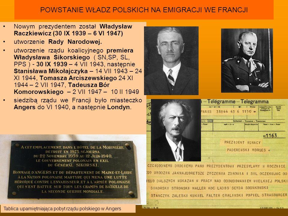 POWSTANIE WŁADZ POLSKICH NA EMIGRACJI WE FRANCJI Nowym prezydentem został Władysław Raczkiewicz (30 IX 1939 – 6 VI 1947) utworzenie Rady Narodowej. ut