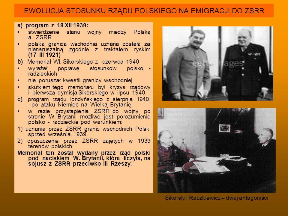 EWOLUCJA STOSUNKU RZĄDU POLSKIEGO NA EMIGRACJI DO ZSRR a) program z 18 XII 1939: stwierdzenie stanu wojny miedzy Polską a ZSRR. polska granica wschodn