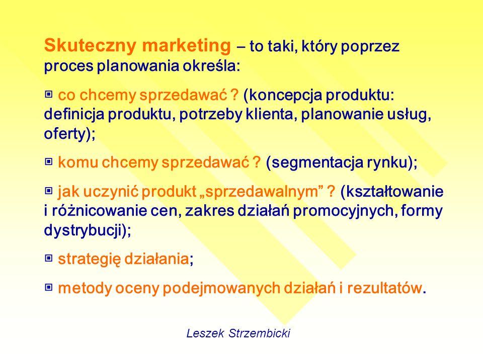 Skuteczny marketing – to taki, który poprzez proces planowania określa: co chcemy sprzedawać .