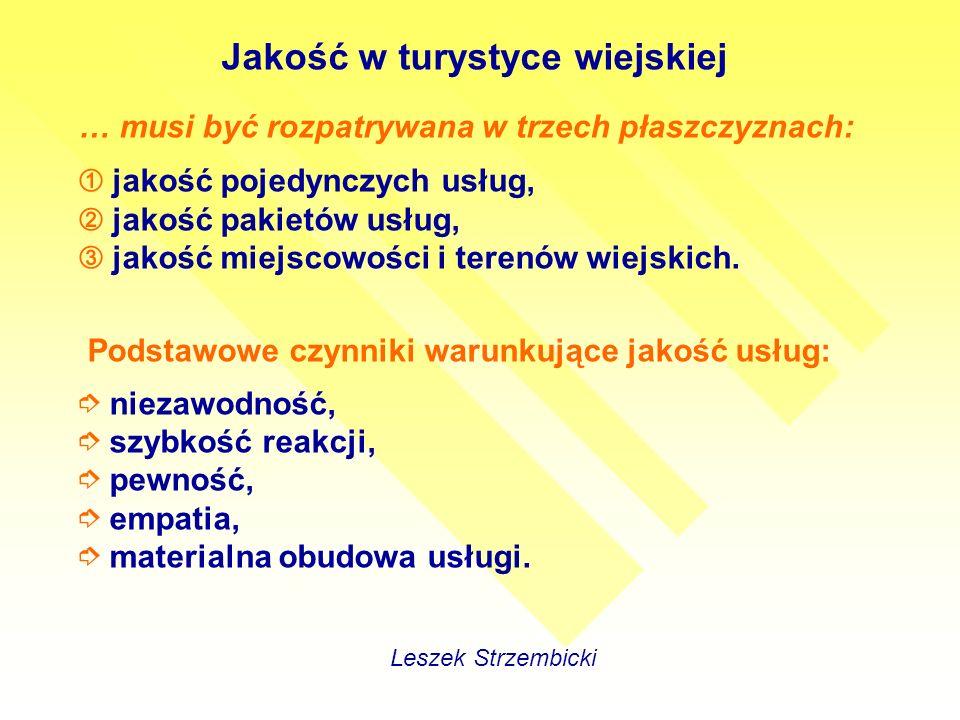 Jakość w turystyce wiejskiej Leszek Strzembicki … musi być rozpatrywana w trzech płaszczyznach: jakość pojedynczych usług, jakość pakietów usług, jakość miejscowości i terenów wiejskich.
