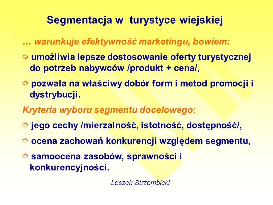 Segmentacja w turystyce wiejskiej Leszek Strzembicki … warunkuje efektywność marketingu, bowiem: umożliwia lepsze dostosowanie oferty turystycznej do potrzeb nabywców /produkt + cena/, pozwala na właściwy dobór form i metod promocji i dystrybucji.