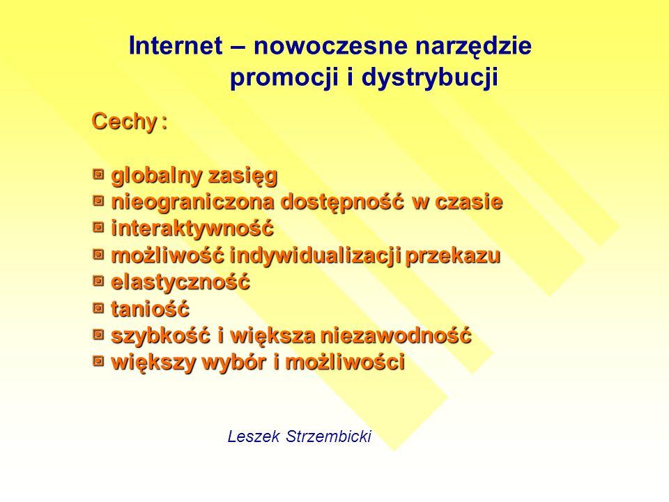 Internet – nowoczesne narzędzie promocji i dystrybucji Leszek Strzembicki Cechy : globalny zasięg globalny zasięg nieograniczona dostępność w czasie nieograniczona dostępność w czasie interaktywność interaktywność możliwość indywidualizacji przekazu możliwość indywidualizacji przekazu elastyczność elastyczność taniość taniość szybkość i większa niezawodność szybkość i większa niezawodność większy wybór i możliwości większy wybór i możliwości