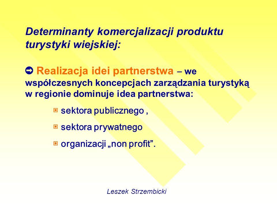 Determinanty komercjalizacji produktu turystyki wiejskiej: Realizacja idei partnerstwa – we współczesnych koncepcjach zarządzania turystyką w regionie dominuje idea partnerstwa: sektora publicznego, sektora prywatnego organizacji non profit.