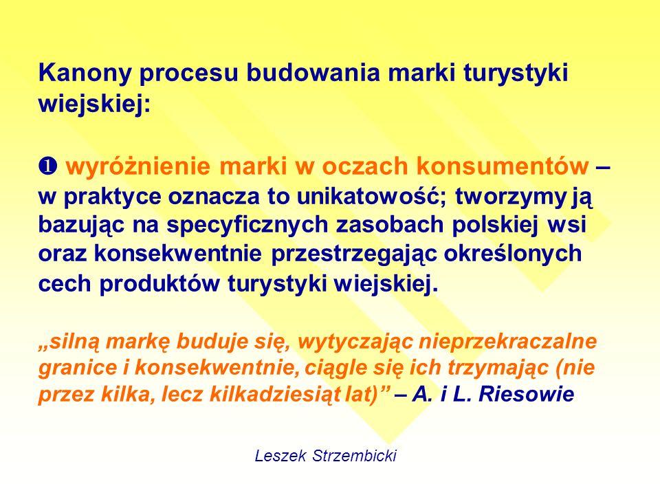 Kanony procesu budowania marki turystyki wiejskiej: wyróżnienie marki w oczach konsumentów – w praktyce oznacza to unikatowość; tworzymy ją bazując na specyficznych zasobach polskiej wsi oraz konsekwentnie przestrzegając określonych cech produktów turystyki wiejskiej.