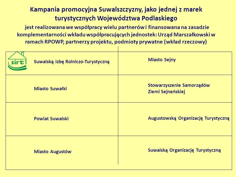 Kampania promocyjna Suwalszczyzny, jako jednej z marek turystycznych Województwa Podlaskiego jest realizowana we współpracy wielu partnerów i finansow