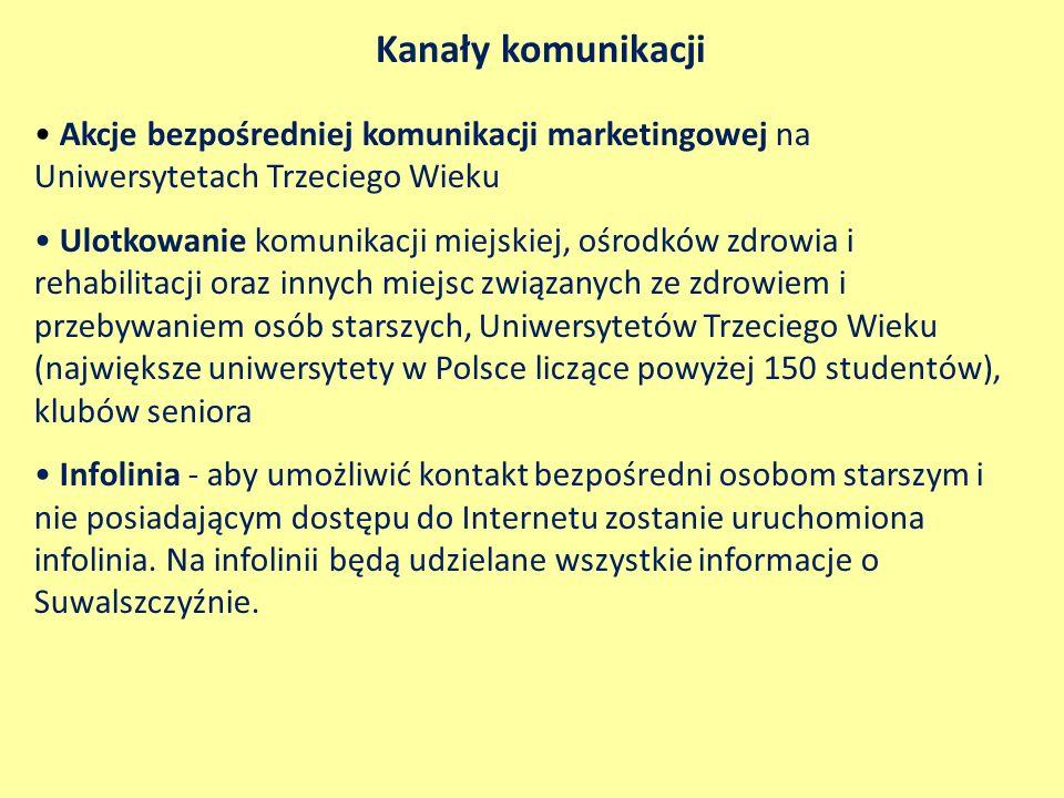 Kanały komunikacji Akcje bezpośredniej komunikacji marketingowej na Uniwersytetach Trzeciego Wieku Ulotkowanie komunikacji miejskiej, ośrodków zdrowia i rehabilitacji oraz innych miejsc związanych ze zdrowiem i przebywaniem osób starszych, Uniwersytetów Trzeciego Wieku (największe uniwersytety w Polsce liczące powyżej 150 studentów), klubów seniora Infolinia - aby umożliwić kontakt bezpośredni osobom starszym i nie posiadającym dostępu do Internetu zostanie uruchomiona infolinia.