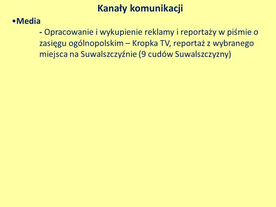 Kanały komunikacji Media - Opracowanie i wykupienie reklamy i reportaży w piśmie o zasięgu ogólnopolskim – Kropka TV, reportaż z wybranego miejsca na Suwalszczyźnie (9 cudów Suwalszczyzny)