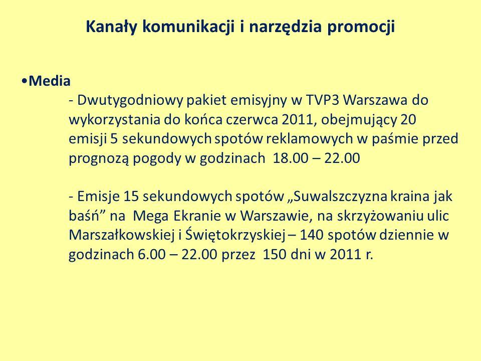 Kanały komunikacji i narzędzia promocji Media - Dwutygodniowy pakiet emisyjny w TVP3 Warszawa do wykorzystania do końca czerwca 2011, obejmujący 20 em