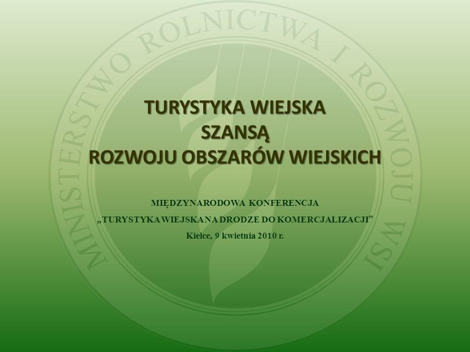 TURYSTYKA WIEJSKA SZANSĄ ROZWOJU OBSZARÓW WIEJSKICH MIĘDZYNARODOWA KONFERENCJA TURYSTYKA WIEJSKA NA DRODZE DO KOMERCJALIZACJI Kielce, 9 kwietnia 2010 r.