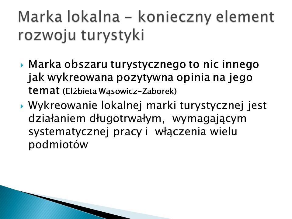 Marka obszaru turystycznego to nic innego jak wykreowana pozytywna opinia na jego temat (Elżbieta Wąsowicz-Zaborek) Wykreowanie lokalnej marki turysty