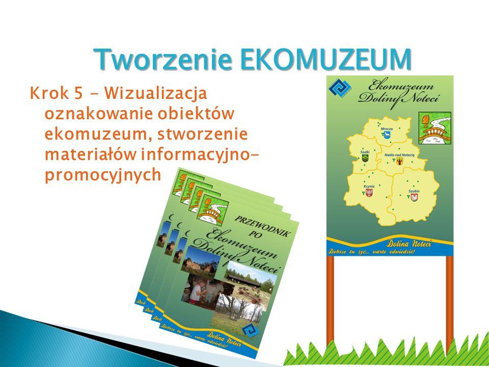 Krok 5 - Wizualizacja oznakowanie obiektów ekomuzeum, stworzenie materiałów informacyjno- promocyjnych