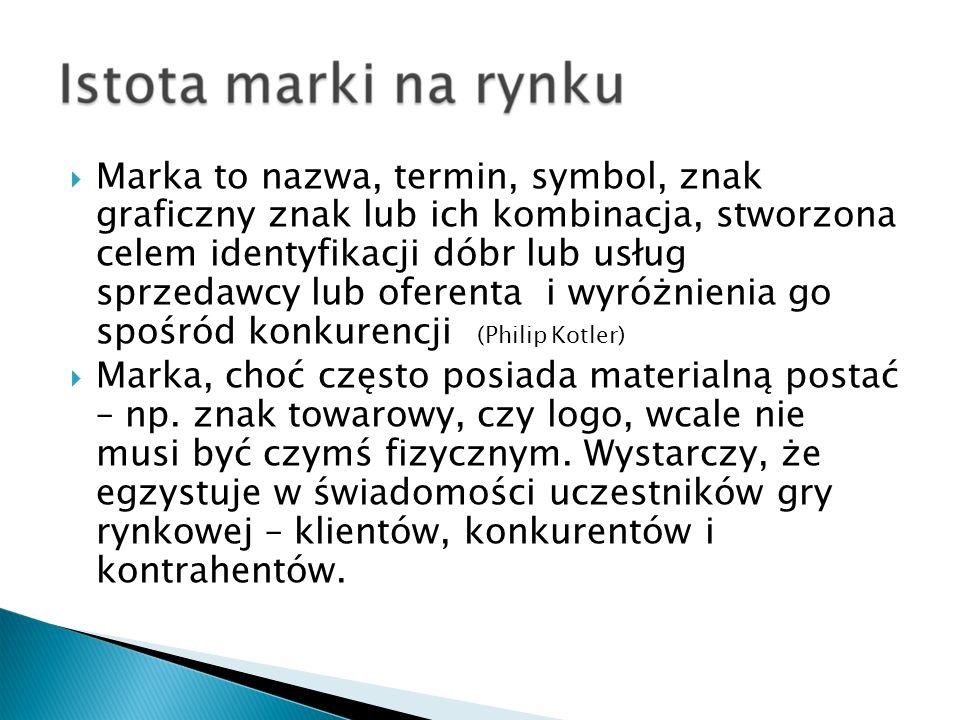 Marka to nazwa, termin, symbol, znak graficzny znak lub ich kombinacja, stworzona celem identyfikacji dóbr lub usług sprzedawcy lub oferenta i wyróżni