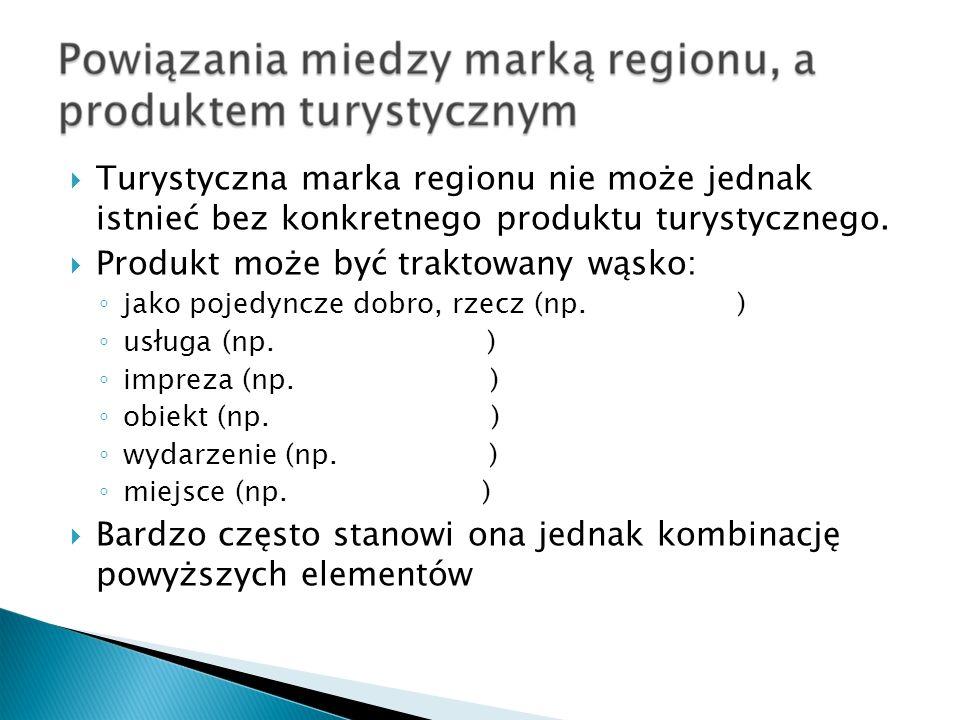 Turystyczna marka regionu nie może jednak istnieć bez konkretnego produktu turystycznego. Produkt może być traktowany wąsko: jako pojedyncze dobro, rz