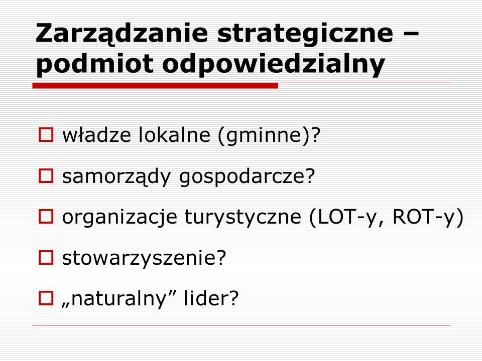 Zarządzanie strategiczne – podmiot odpowiedzialny władze lokalne (gminne).