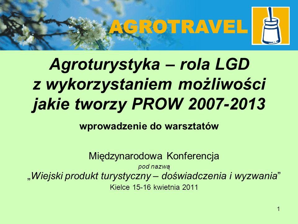 1 Agroturystyka – rola LGD z wykorzystaniem możliwości jakie tworzy PROW 2007-2013 wprowadzenie do warsztatów Międzynarodowa Konferencja pod nazwąWiej