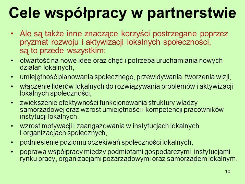 10 Cele współpracy w partnerstwie Ale są także inne znaczące korzyści postrzegane poprzez pryzmat rozwoju i aktywizacji lokalnych społeczności, są to