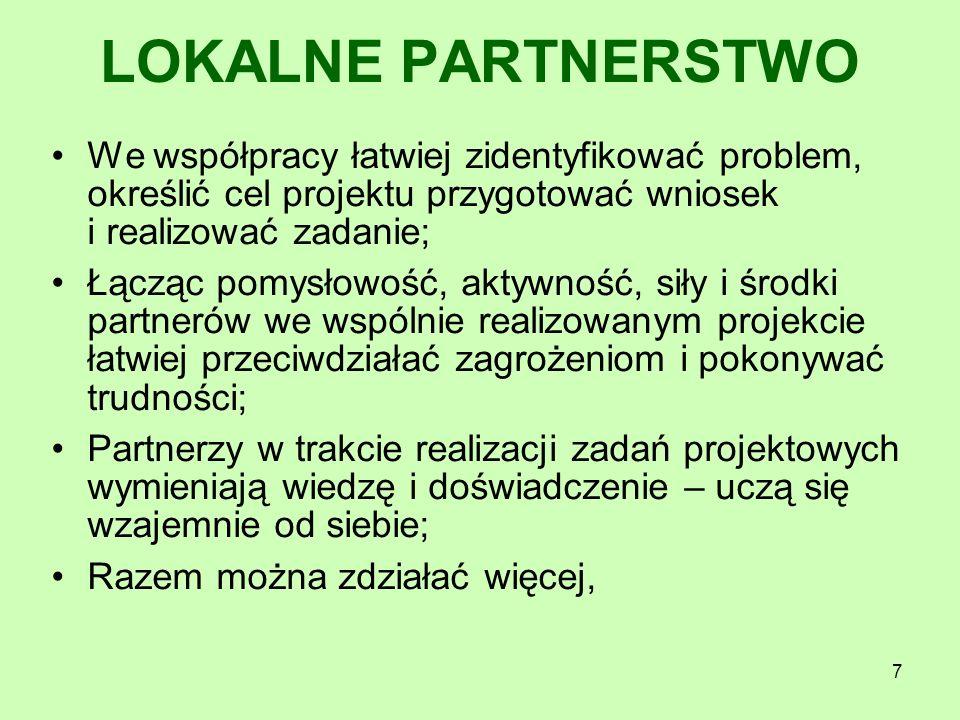 7 We współpracy łatwiej zidentyfikować problem, określić cel projektu przygotować wniosek i realizować zadanie; Łącząc pomysłowość, aktywność, siły i